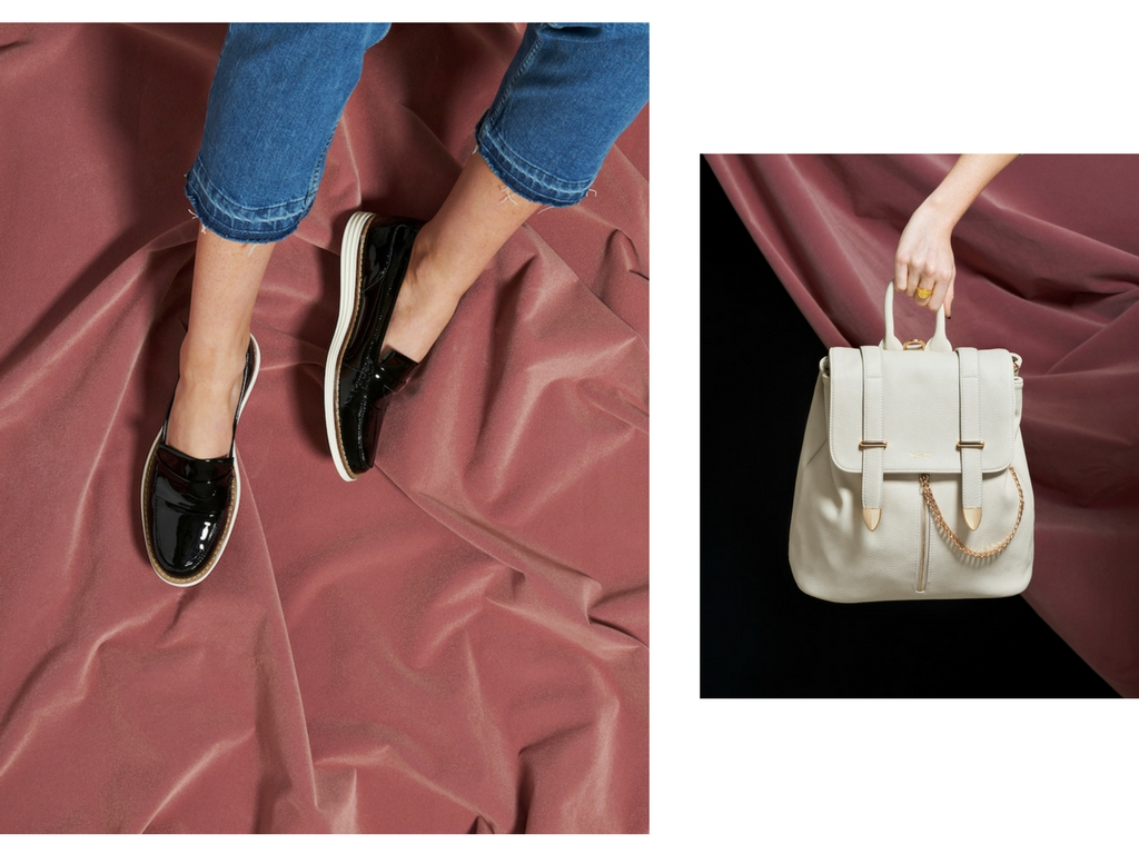 Left: Loafers by Will's; jeans by Lindex. Right: Agnes Off White Backpack by La Bante; Zodiac Signet Ring by Rachel Entwistle.