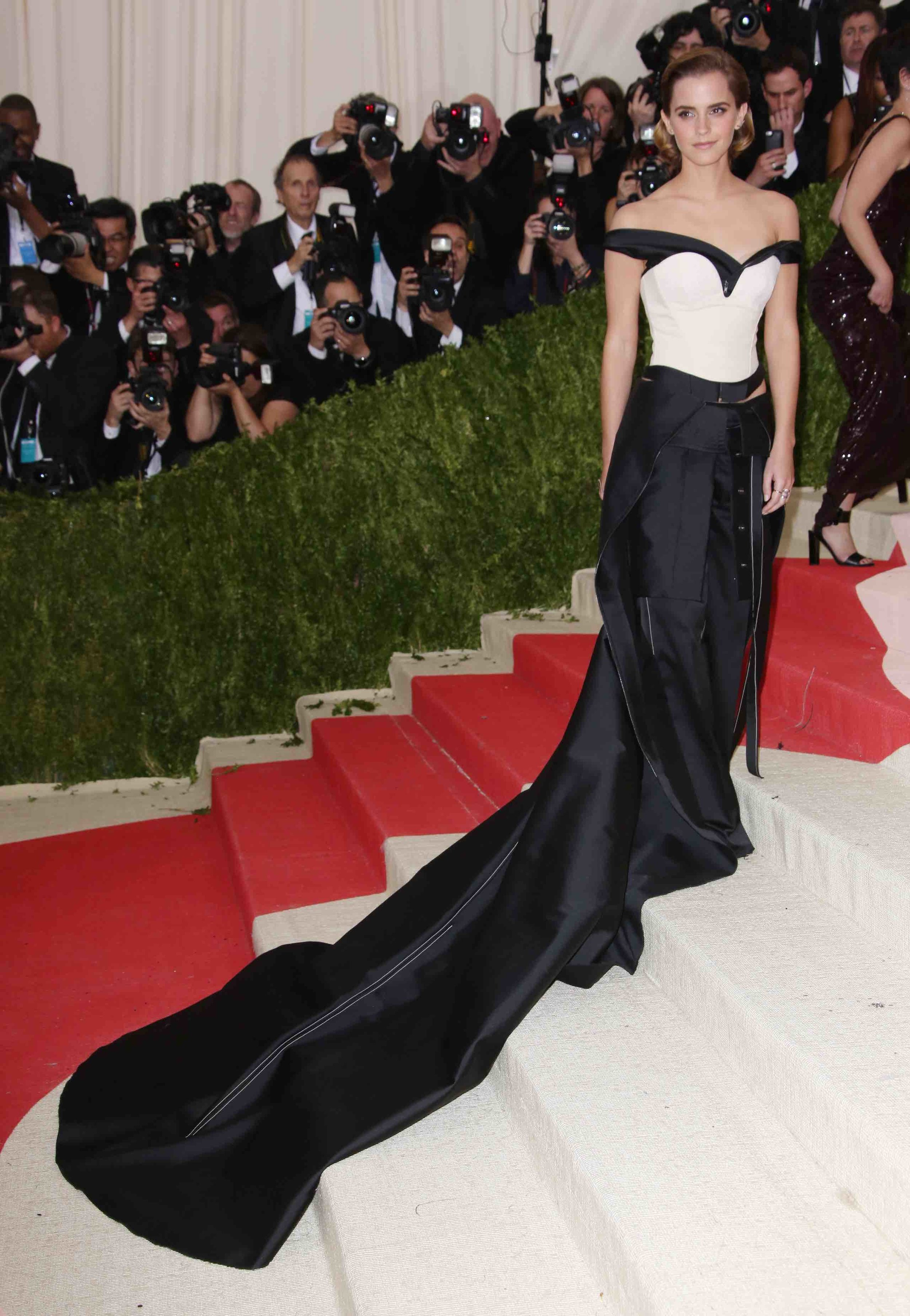 Calvin Klein Green Carpet Challenge dress worn by Emma Watson to the MET Gala 2016. Photo by Dimitrios Kambouris/Getty Images