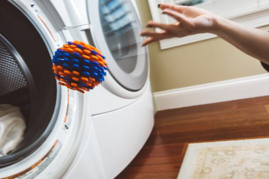 The Cora Ball is designed to capture microfibres that come off synthetic clothing in the wash.