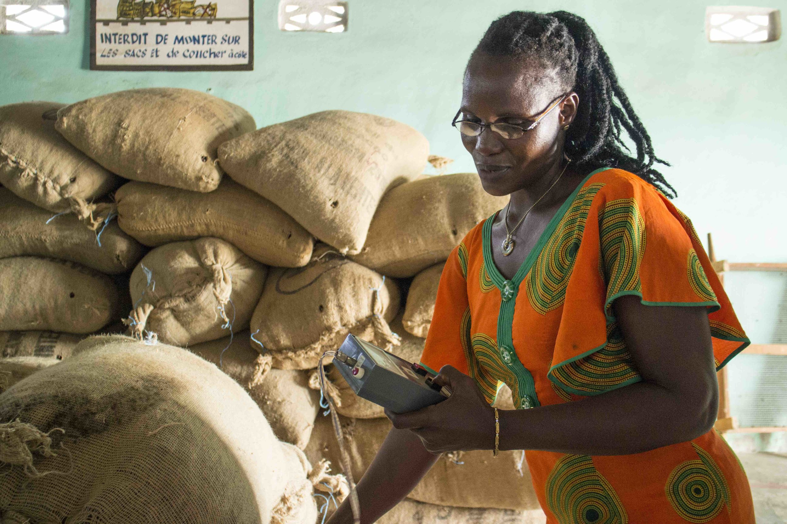 Her name is Ouassara Thérése is responsible for the warehouse for Coopadis Cocoa Cooperative, Issia, Cote d'Ivoire, including quality control, traceability and energy and logistics.