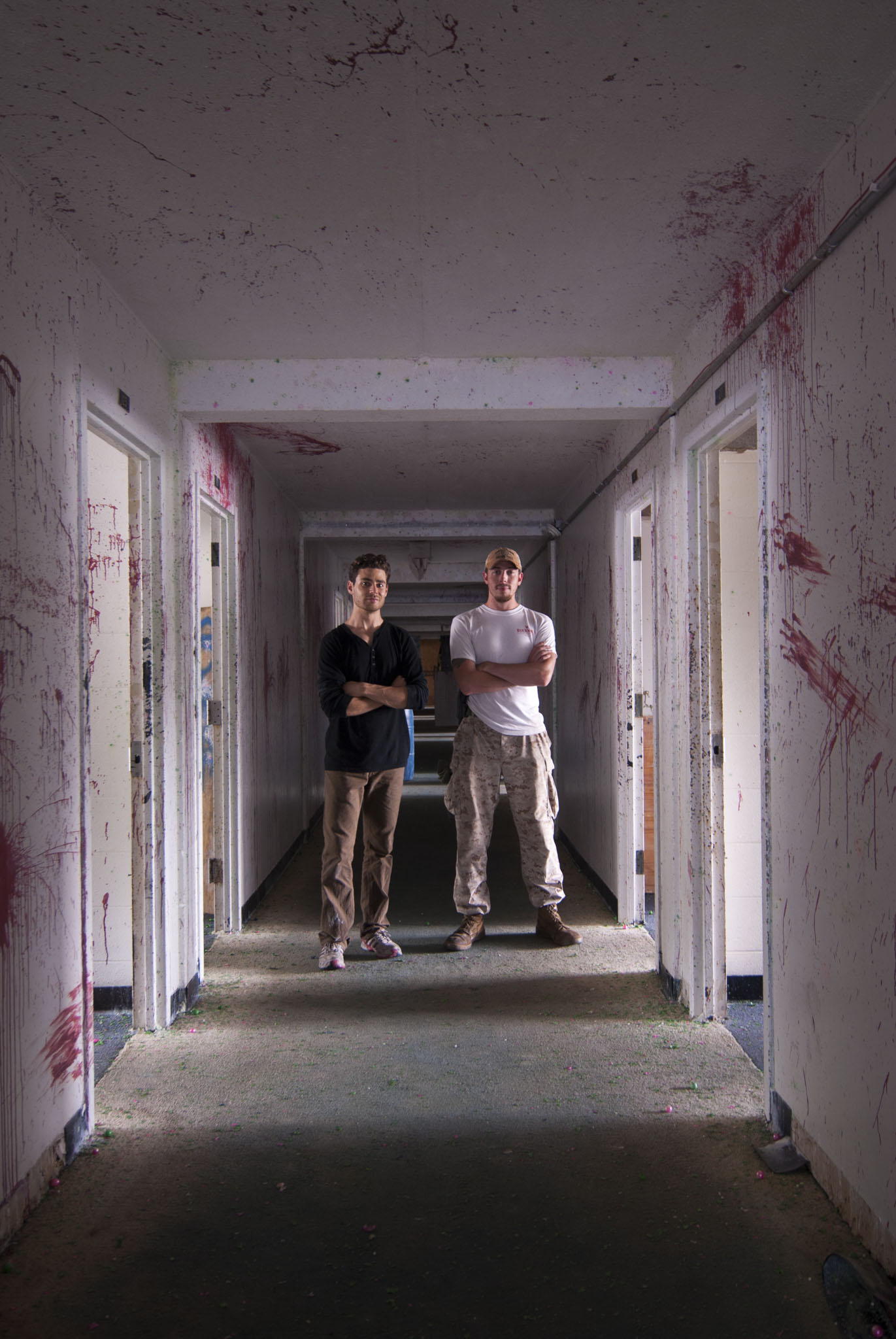 Matt Finn (left) partnered with Corporal Clinton McMahan (right), U.S. Marine Corp veteran, from whom he received hands-on training of military observational techniques. They focused on methods used to identify threats in indoor and urban conditions, as these are the most common environments veterans will encounter upon their return to civilian life.