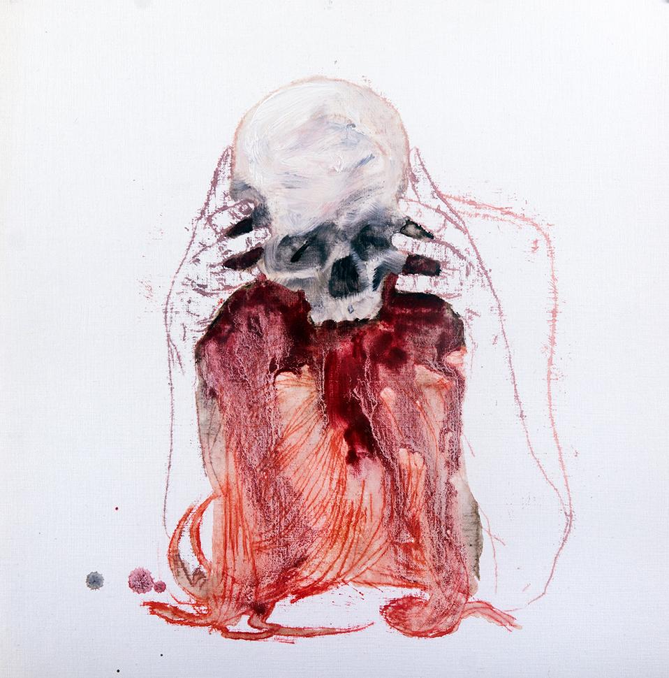 Skull / oil on paper / 30 x 30 cm /   2015