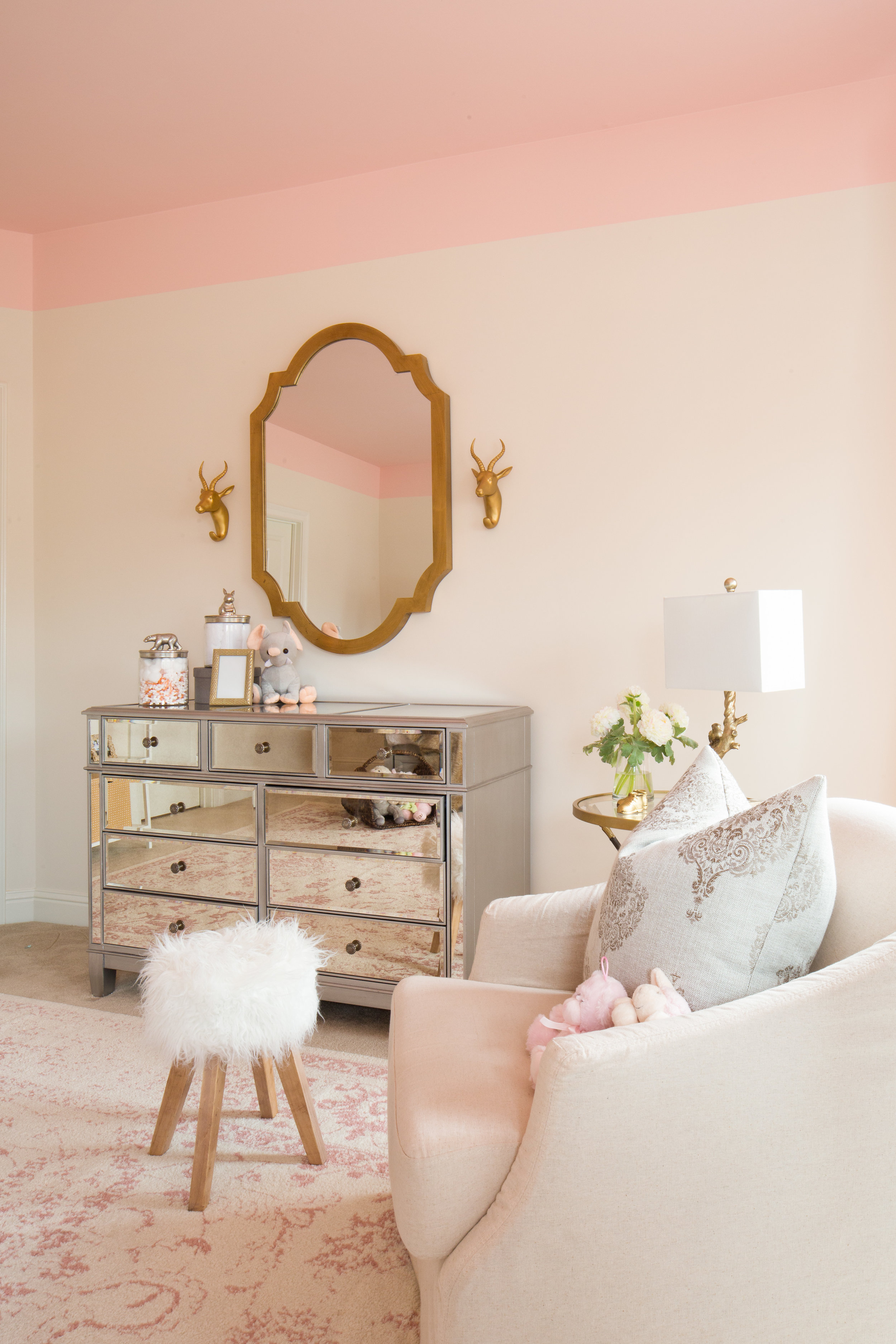 PRETTY PINK NURSERY   Graceful nursery for a first time mom, creates a calming yet enticing oasis for her newborn with whimsical charm.