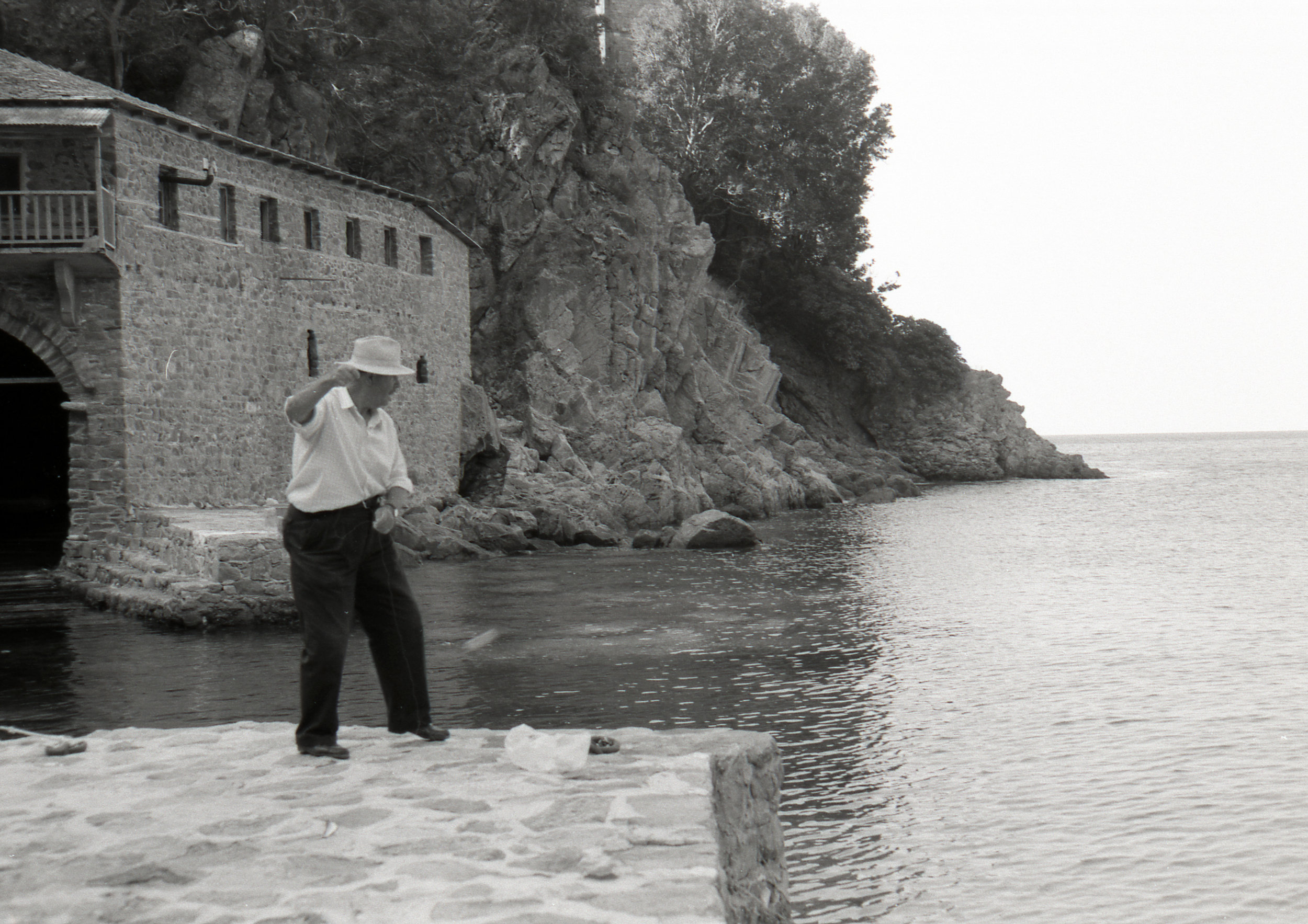 A man fishes at Mt Athos