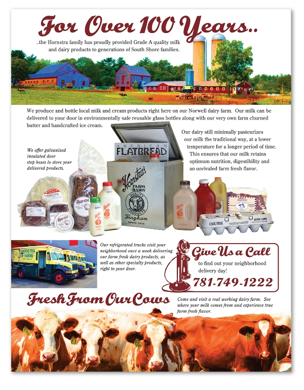 Brochure to promote Hornstra Farm's delivery service.
