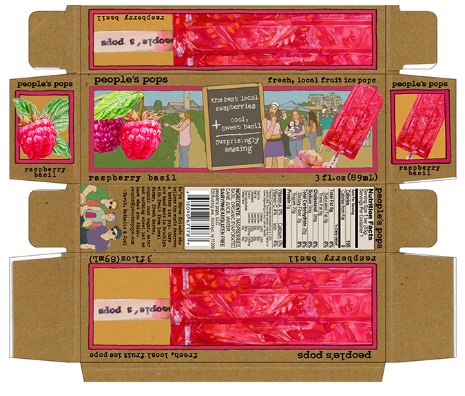 The flat layout of the People's Pops Raspberry Basil popsicle displaying the various watercolor illustrations.