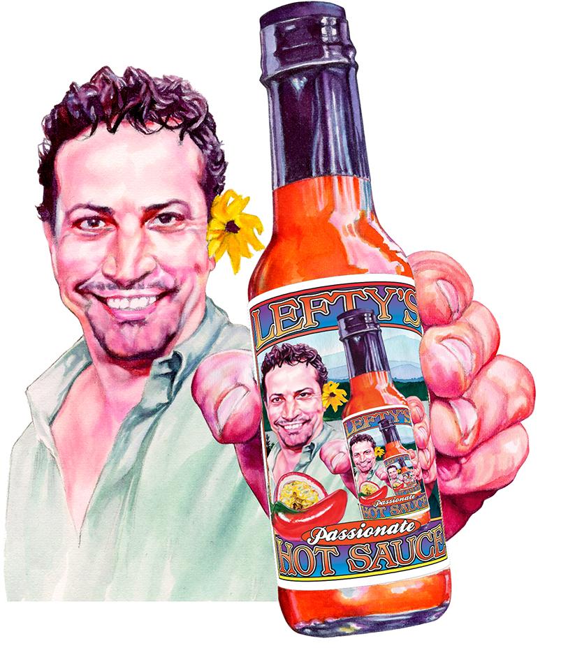 Illustration for Lefty's Hot Sauce label
