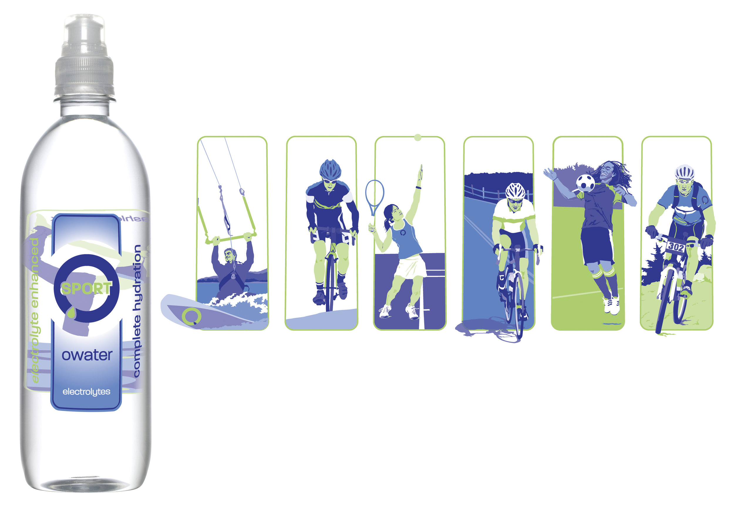 Owater Sport packaging included illustrations of everyday athletes.