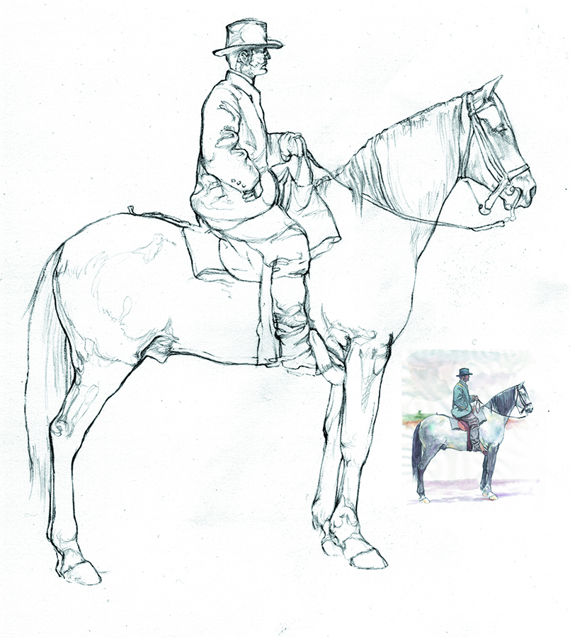 Study for illustrations to accompany  University of Vermont Magazine  article about UVM student soldiers in the Civil War.