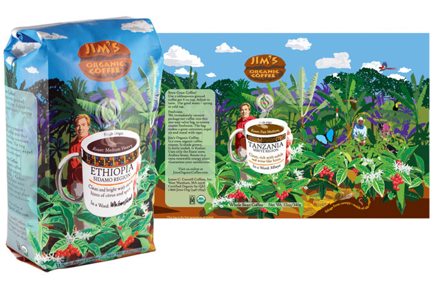 Jim's Organic Coffee bag and artwork flat