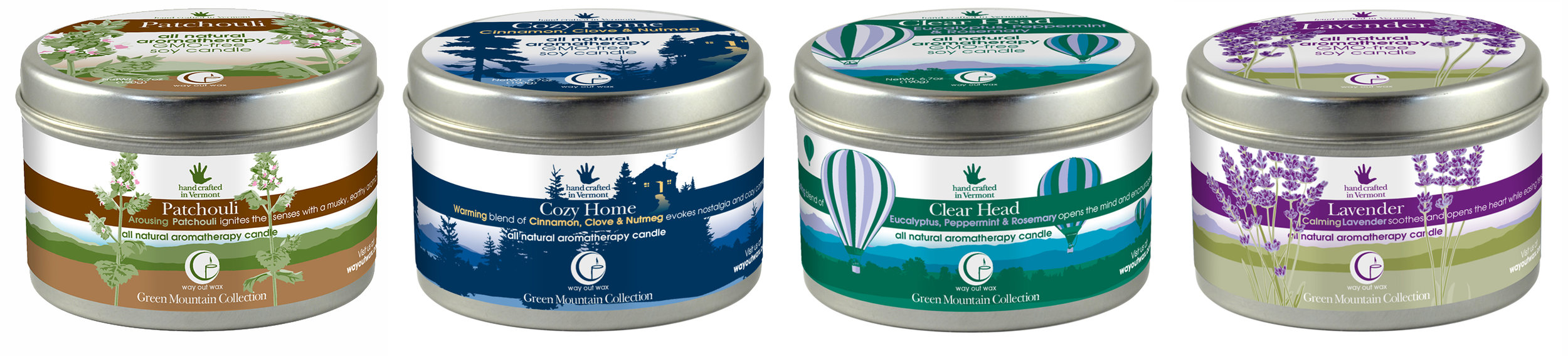 Large tin candles from the Green Mountain Collection from Way Out Wax.