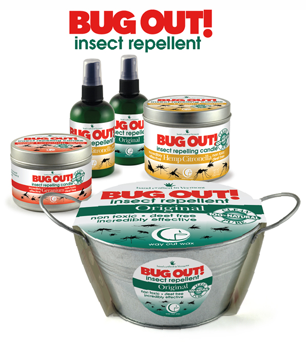 Bug Out! is Way Out Wax's line of bug repellents in spray and candle forms.