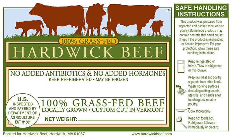 Hardwick Beef package label