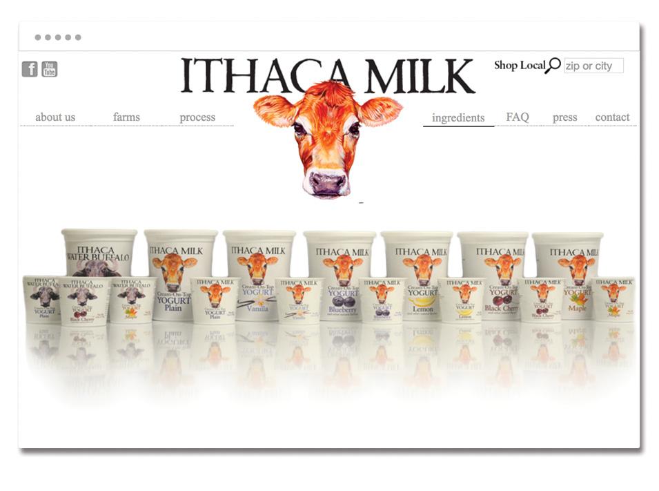 Ithaca Milk website homepage