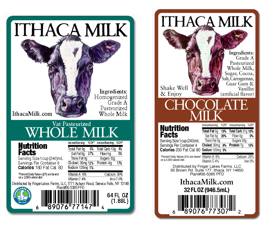 Labels for Ithaca Milk's Holstein Cow line of milks