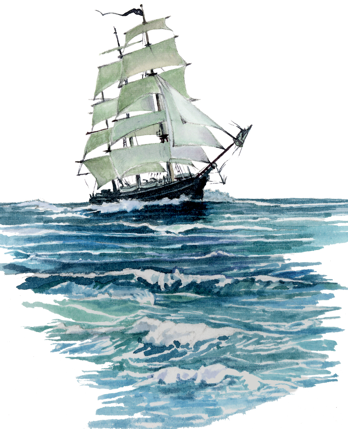 Clipper ship illustration used in background of Rob's Really Good Pirate's Daughter Green Tea