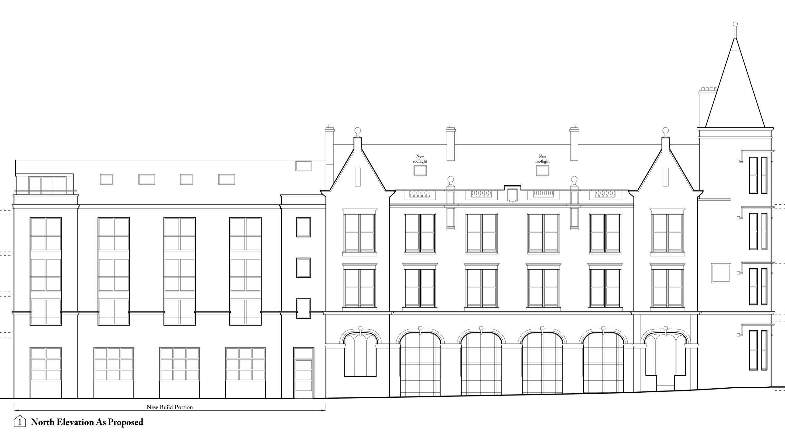 Proposed elevation to Gordon Street, with the new extension on the left.