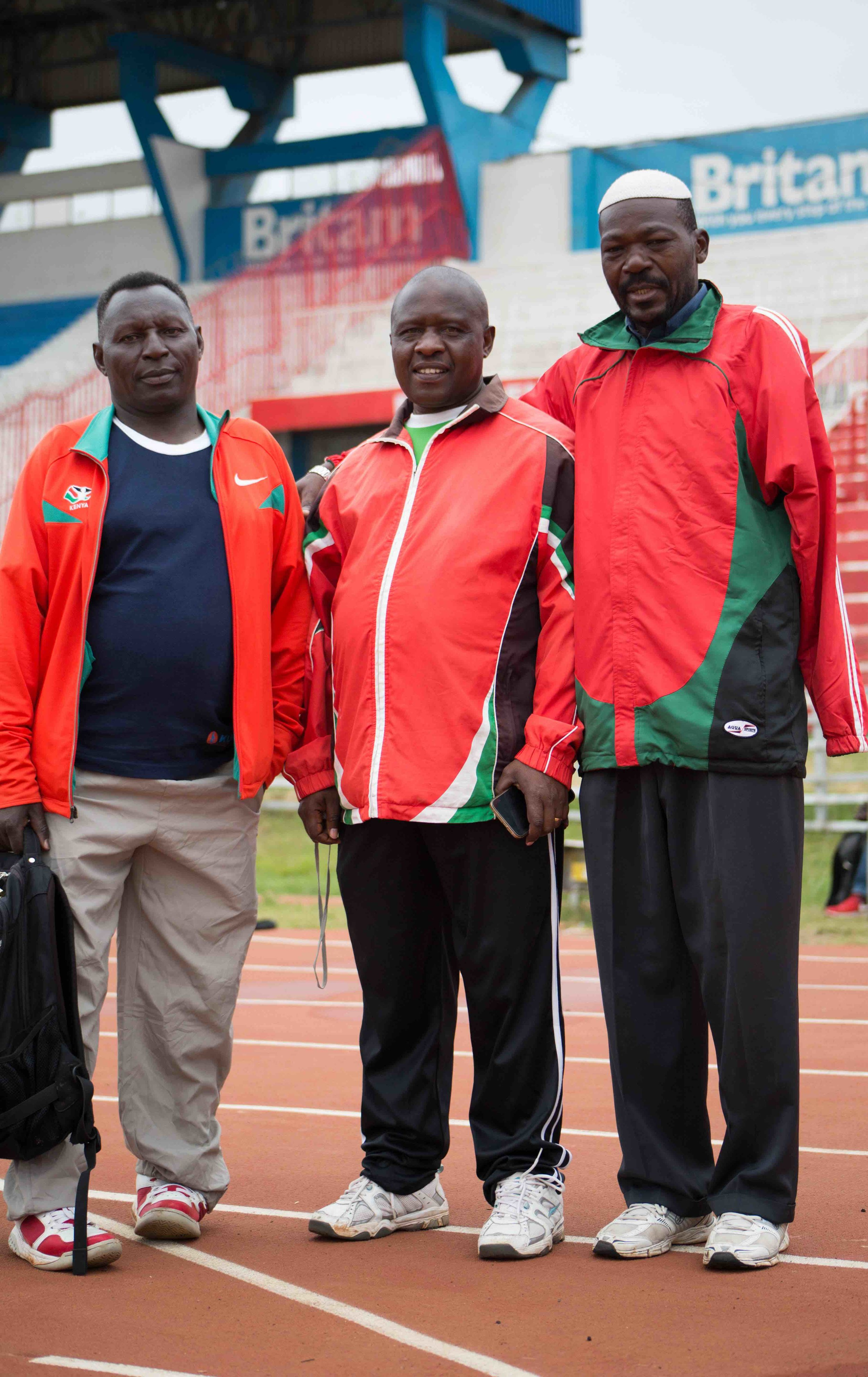 From Left to Right: Coach Stephen, Coach John Karuki, Coach Michael Omondi.  – Photo by Wes Parnell