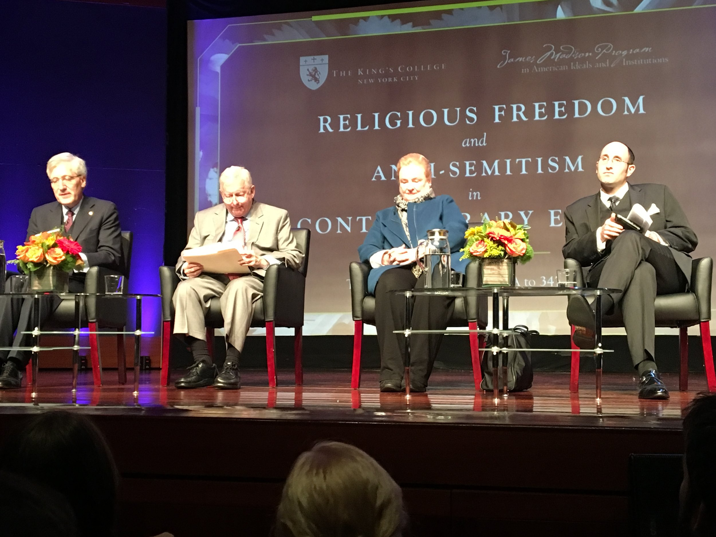 (From left to right): Robert P. George, Dr. David Dalin, Mary Ann Glendon and Dr. Meir Soloveichik discuss the rise of anti-Semitism in Europe at an event held in New York City.