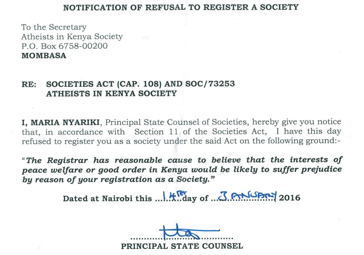 Part of the notice rejecting the application for formal recognition