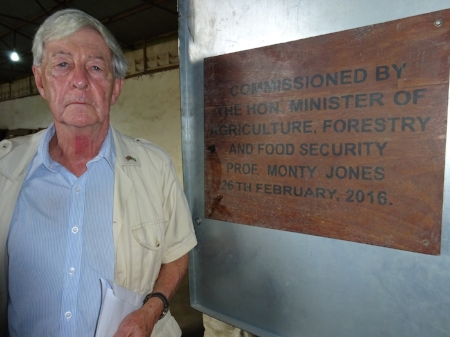 Former British High Commissioner Peter Penfold at Sierra Leone's only rice mill, opened by Agriculture Minister Monty Jones, now closing through lack of backers