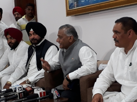 Union Minister General VK Singh, gives a press conference in Amritsar after the mortal remains were brought back to India.