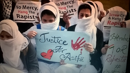 Students in Kashmir protesting against the brutal rape and murder of the eight-year-old girl.