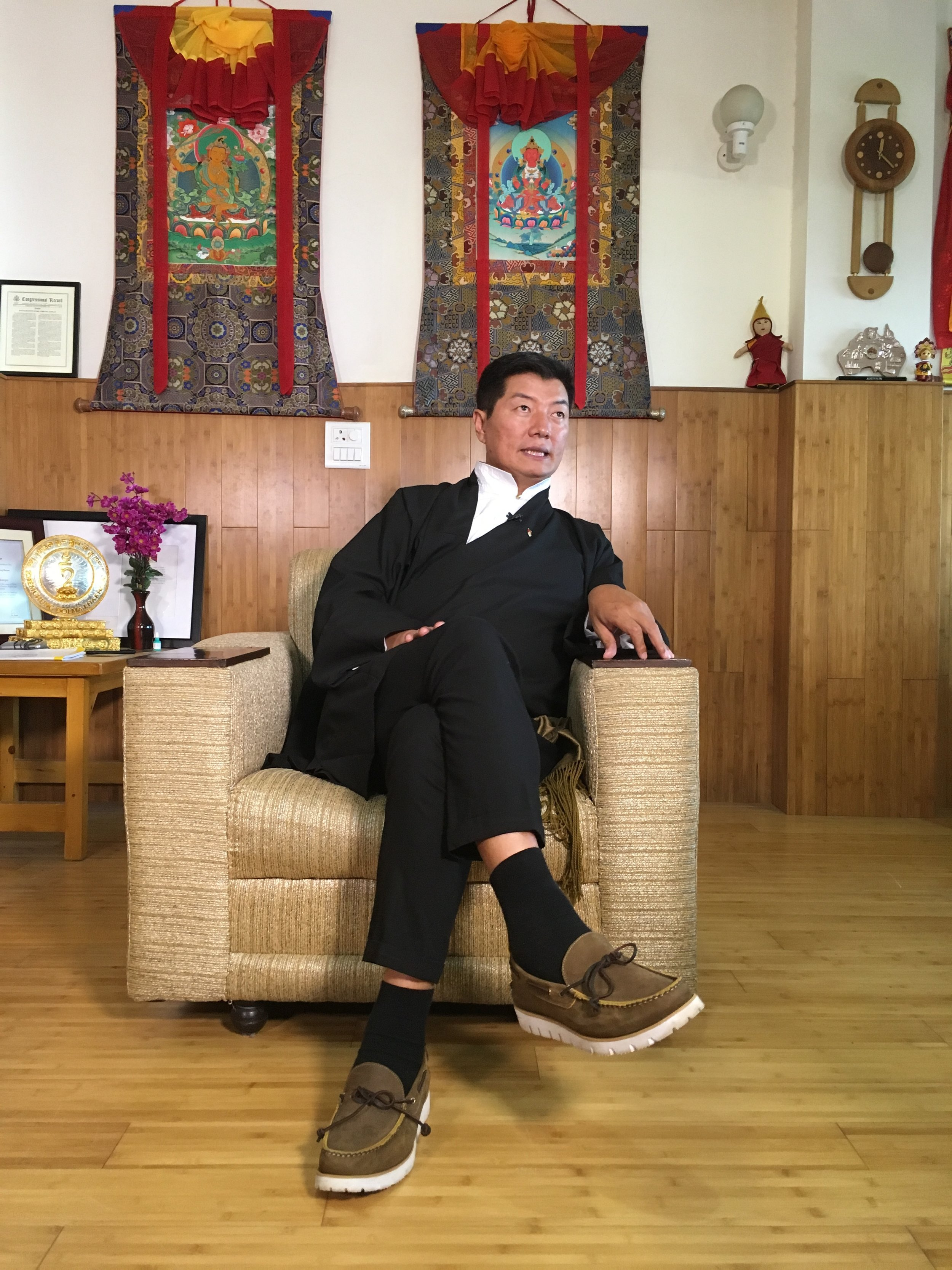 Dr. Lobsang Sangay, the president of the Tibetan exile government, speaks from his office in Dharamsala, India in October 2018