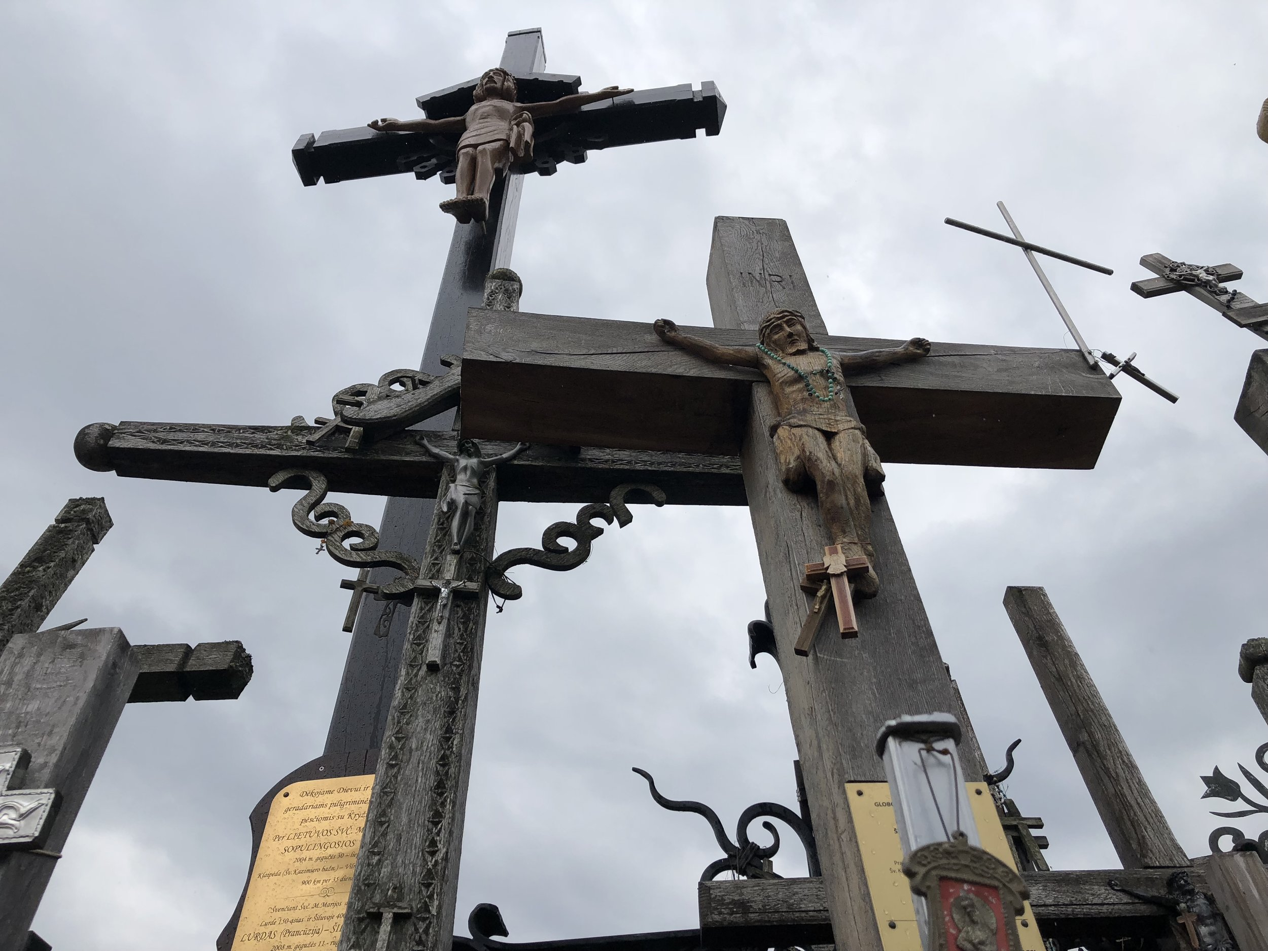 Looking up as you enter the Hill of Crosses in Lithuania.