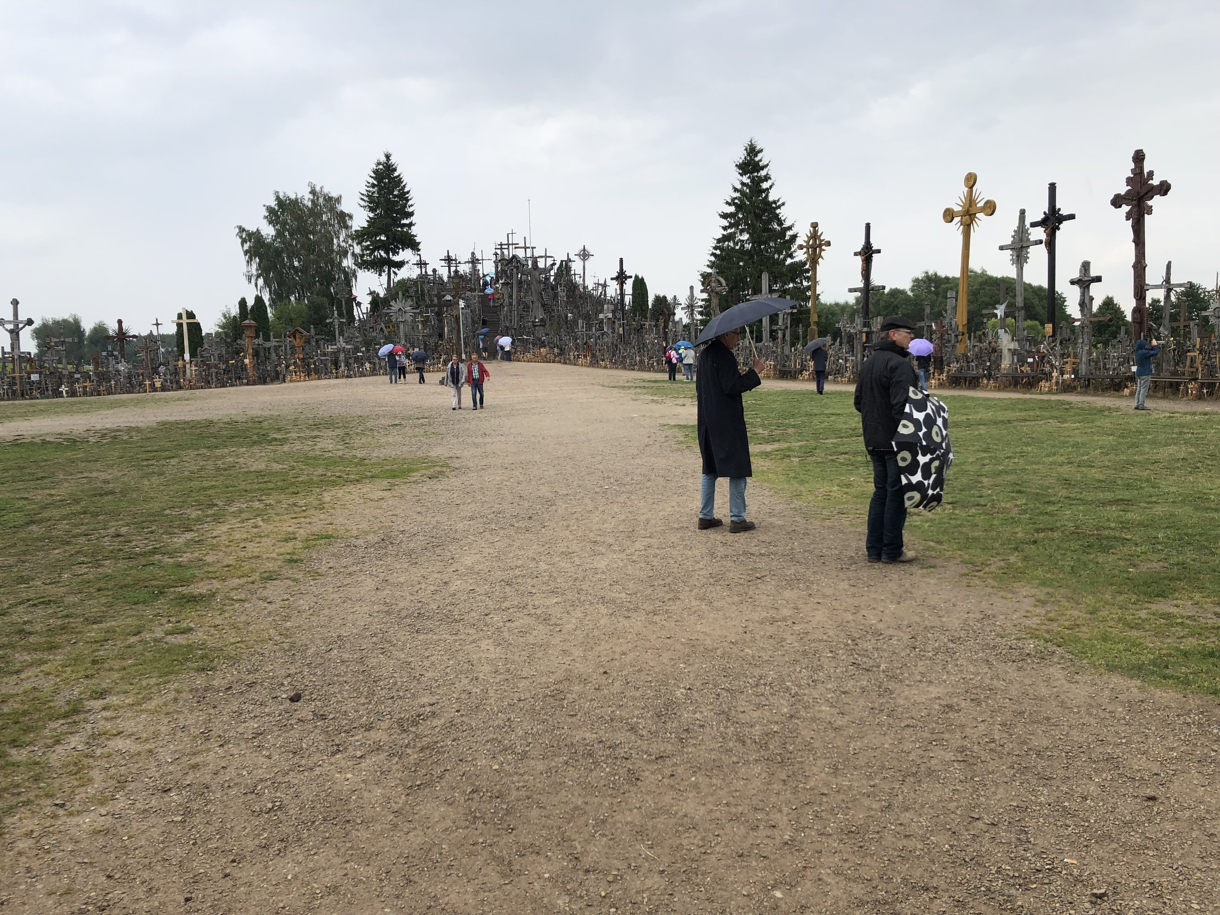 The walk toward the Hill of Crosses.