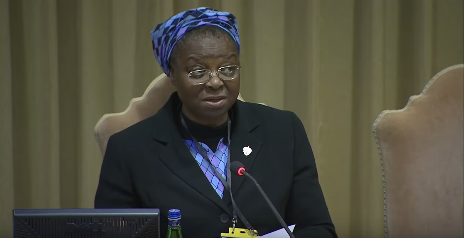"""Sister Veronica Openibo of Nigeria, Superior General of the Society of the Holy Child Jesus, delivered a presentation entitled """"Openness: sent out into the world"""" at the Vatican Sexual Abuse summit on """"The Protection of Minors in the Church"""" in Vatican City. Photo from her speech as seen on  YouTube ."""