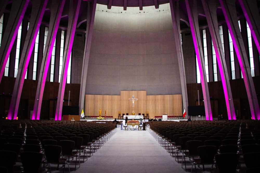 Inside the Temple of Divine Providence, where purple LED lights shine to commemorate the Lenten season.