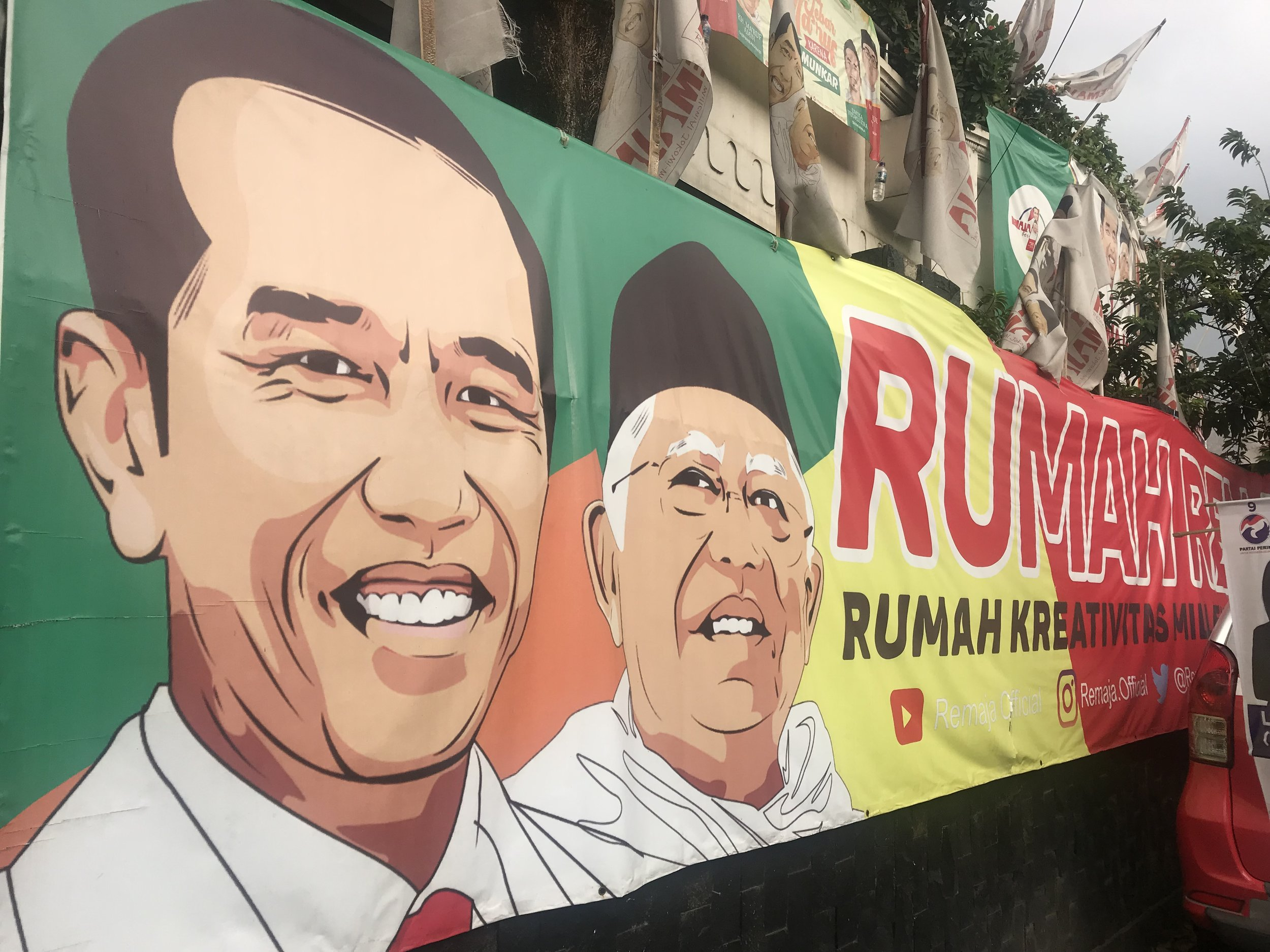 An election poster of the Jokowi-Amin alliance. Photo by Sonia Sarkar.