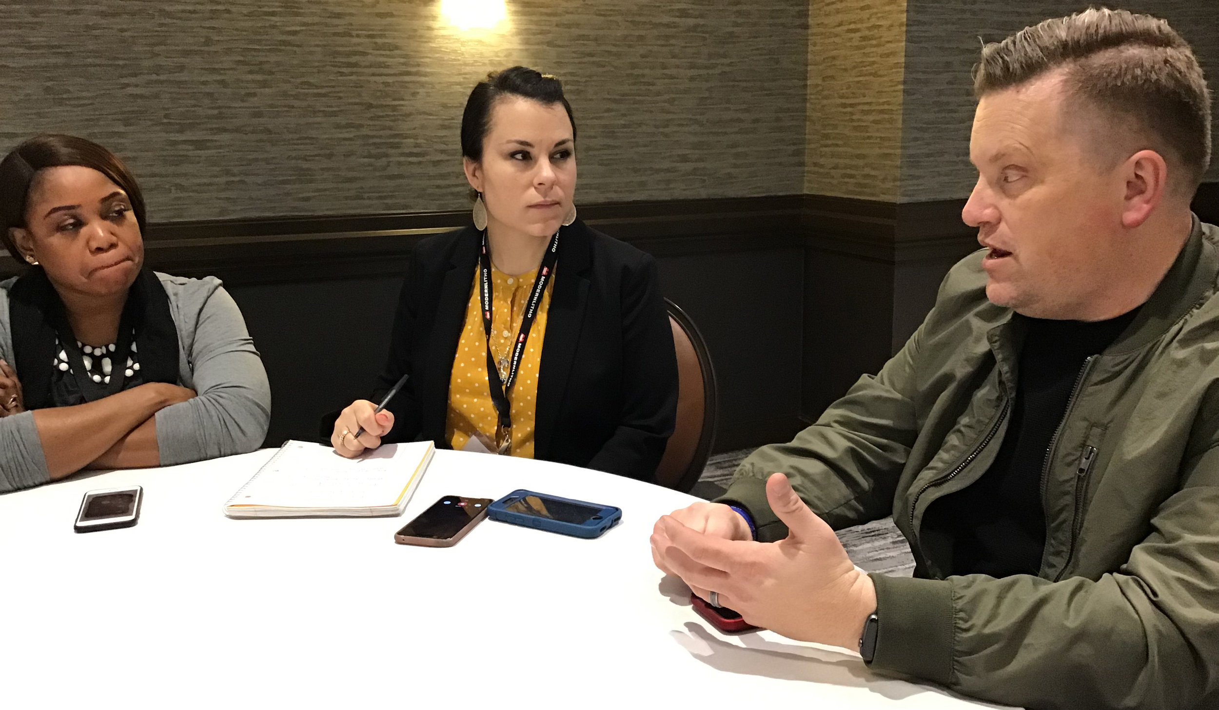 "Jason Noble, right, discusses the movie ""Breakthrough"" with journalists at the Evangelical Press Association convention in Oklahoma City. Photo by Bobby Ross Jr."