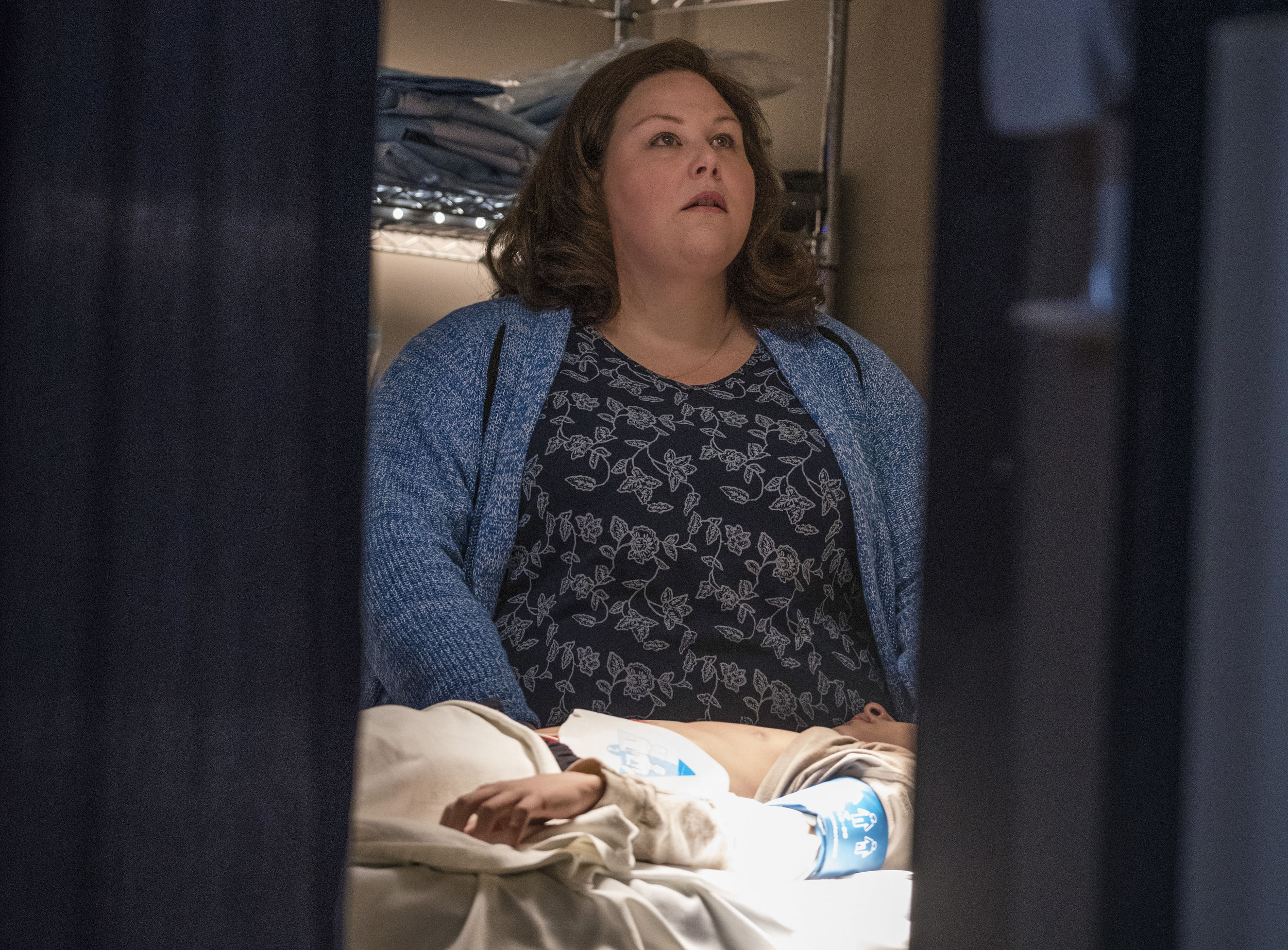 "Chrissy Metz of ""This Is Us"" fame portrays Joyce Smith in ""Breakthrough."" In this image from the movie, she's shown in the hospital room of her son John Smith (played by Marcel Ruiz of ""One Day at a Time""). Photo by Allen Fraser."