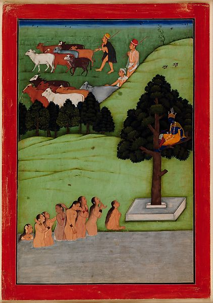 Krishna, in the tree, gazes upon the gopis (female cow herders) bathing naked in worship of him after he stole their clothes.