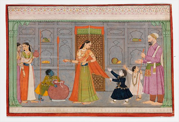 Child Krishna steals butter from a churn while the women aren't looking.