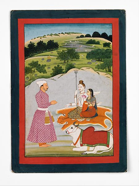 Lord Shiva sits with his wife Parvarti, as seen in a vision by the nobleman (left). Shiva and Parvarti sit on a tiger skin, with their bull waiting beside them.