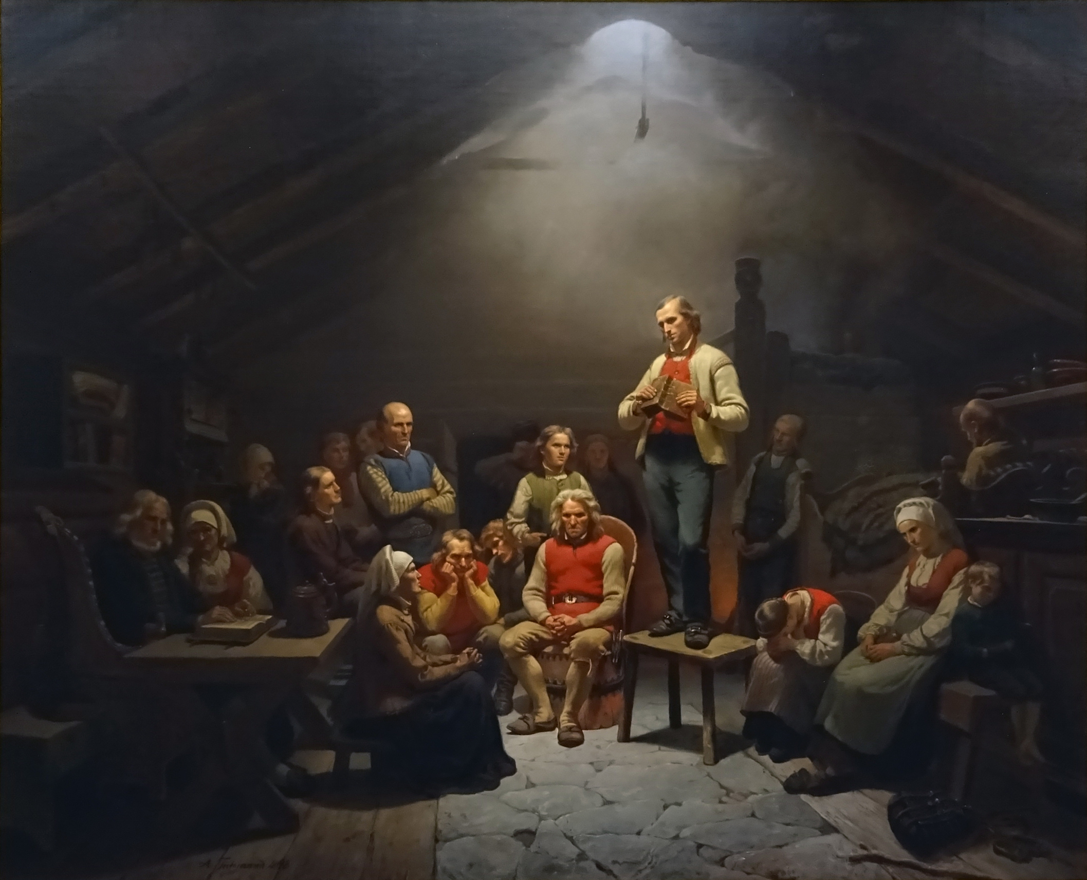"""ICONIC: This painting by Adolph Tidemand of a Christian gathering with Hans Nielsen Hauge, named """"Haugianere"""" (English: """"Haugeans""""), is one of the most famous paintings in Norway."""