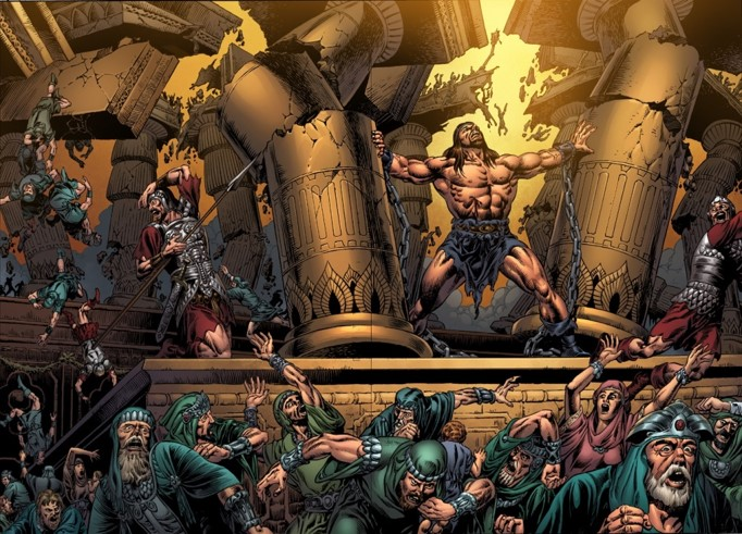 A scene from the Kingstone graphic Bible, of Samson breaking temple pillars. Photo by  Kingstone graphics .