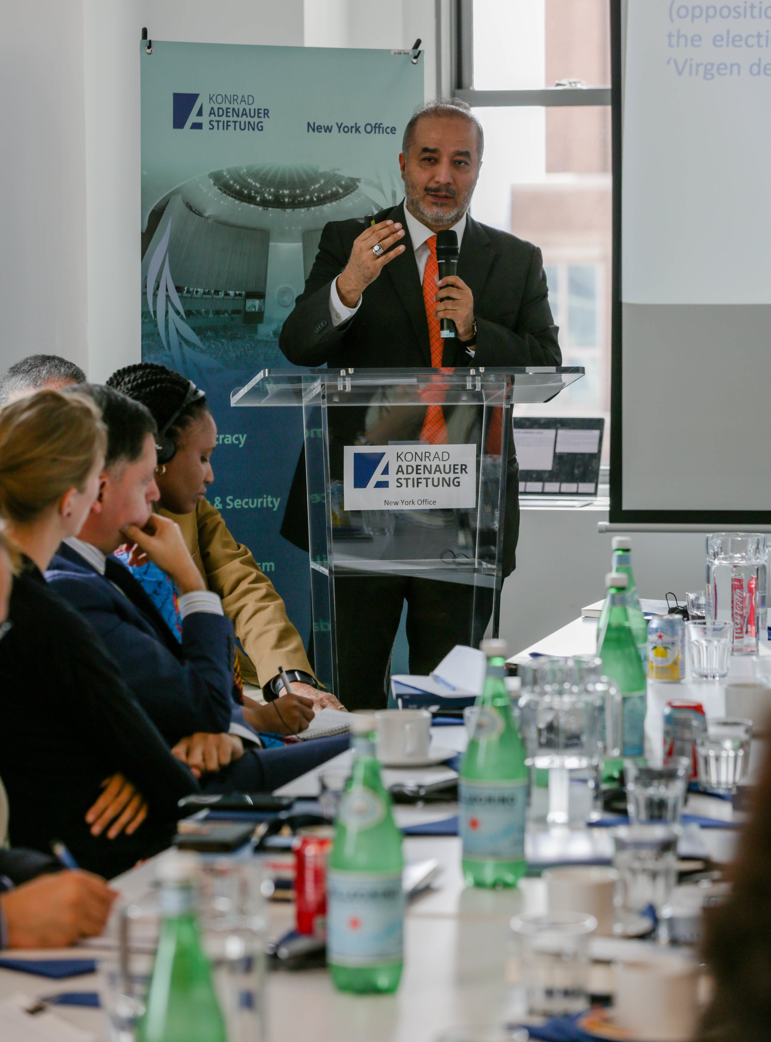 Dr. Jose Luiz Guadalupe speaks at an event sponsored by Konrad Adenauer Stiftung, the German think tank. Photo by Wes Parnell.