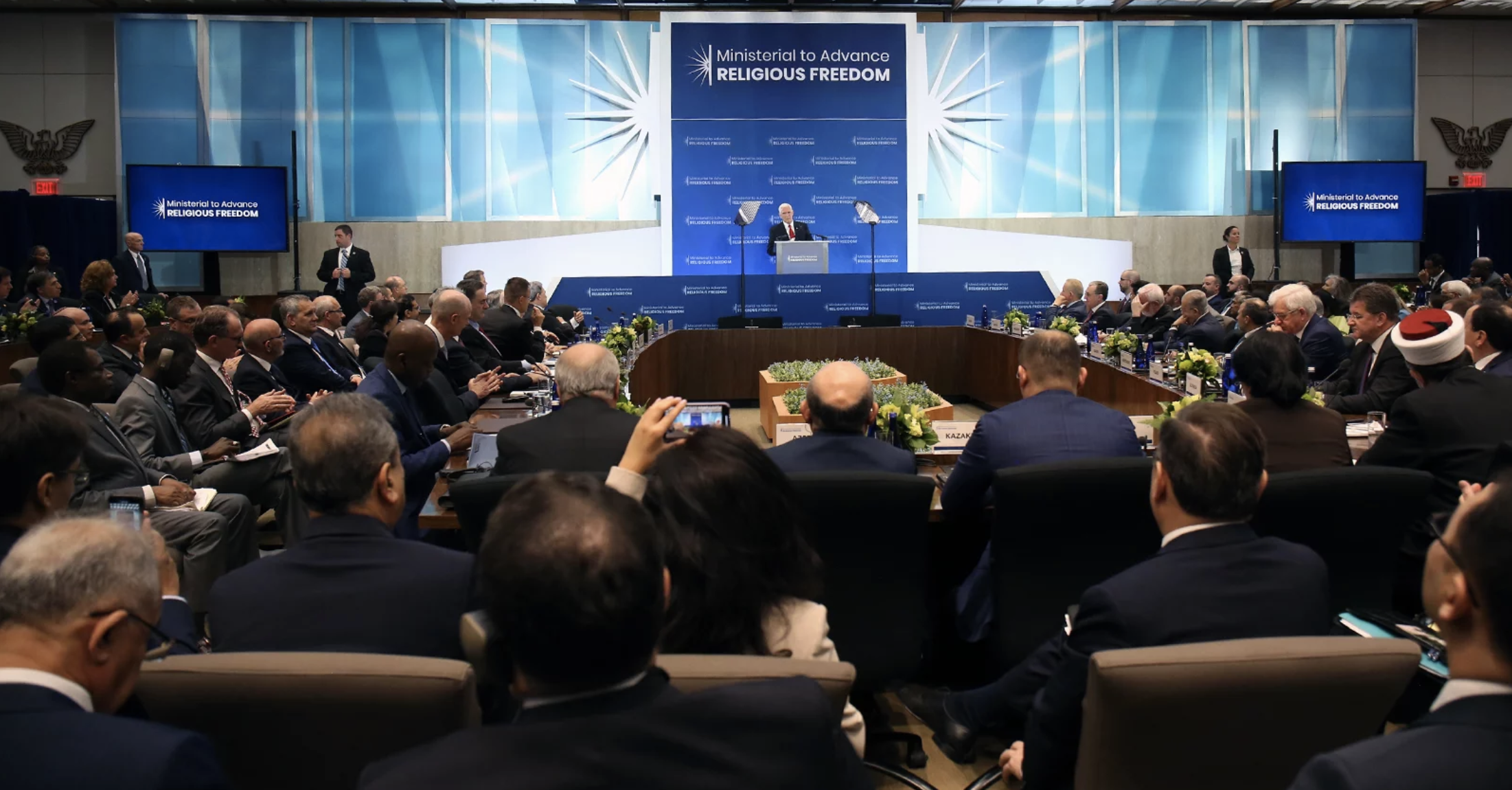 Vice President Mike Pence addresses delegates at the Ministerial to Advance Religious Freedom at the U.S. Department of State in Washington, D.C., on July 18, 2019. Photo by Ralph Alswang/State Department/Public Domain.