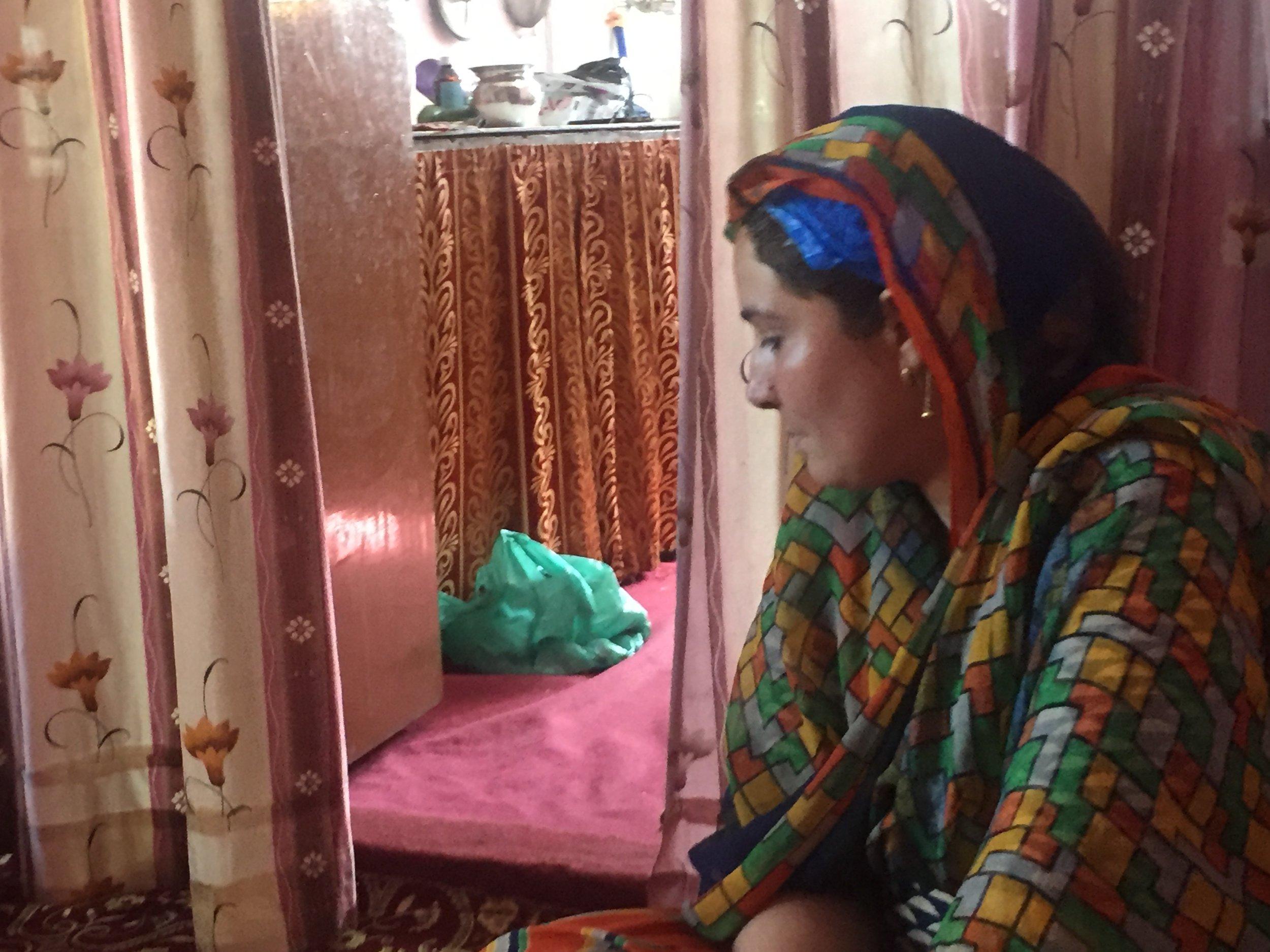Kashmiri Pandit Babita in her two room tenement at Kashmiri Pandit Colony in Budgam, Kashmir. Photo by Taha Zahoor.