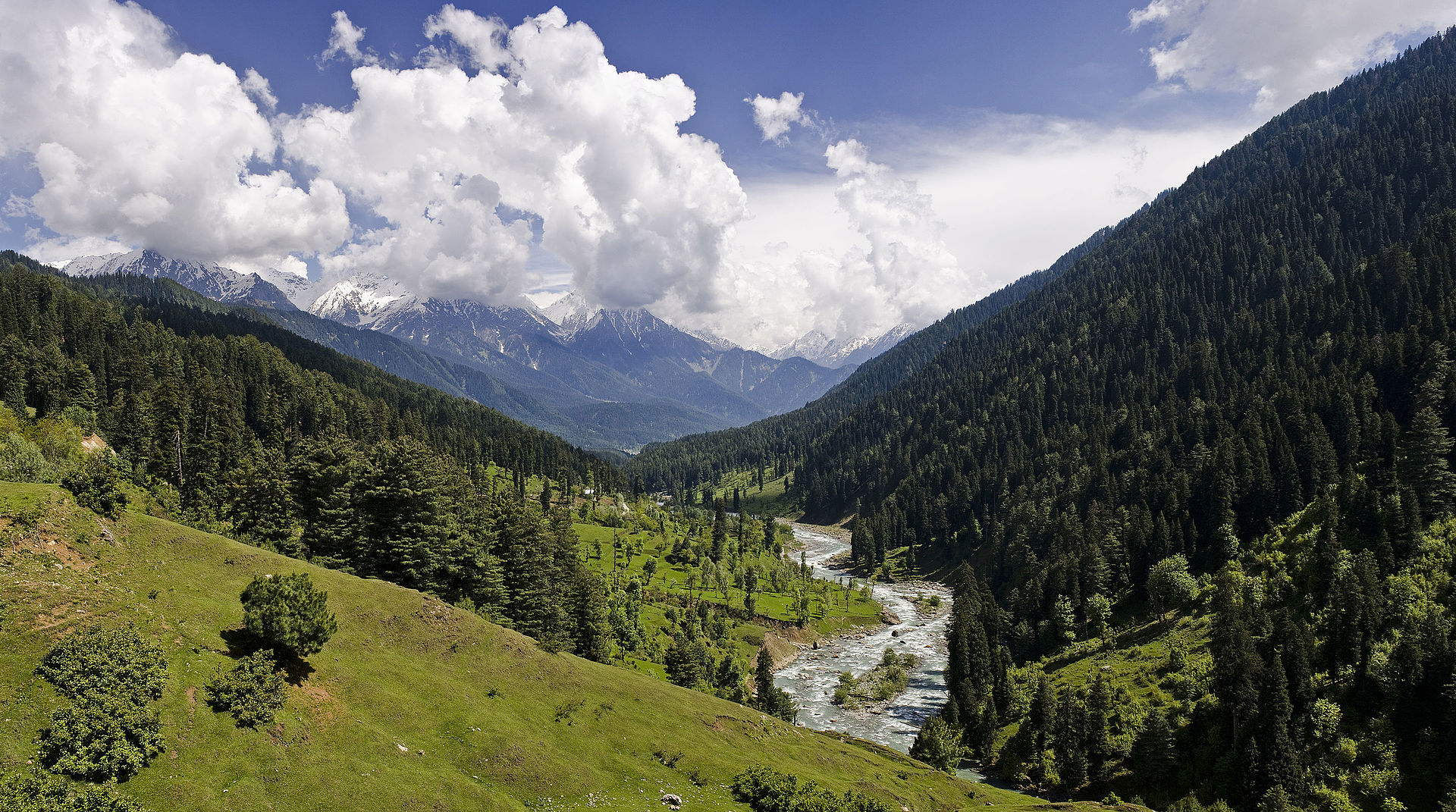 A view of Pahalgam Valley, Kashmir, a tourist destination nearby the popular Hindu pilgrimage to Amarnath caves. Creative Commons photo.