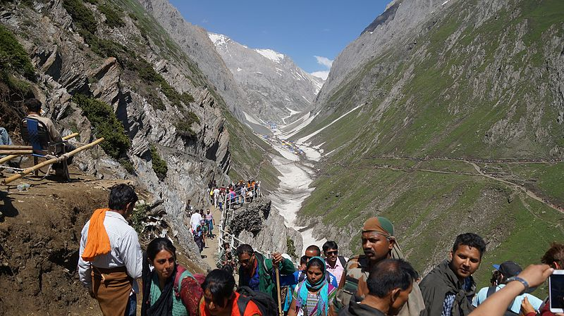 The  Amarnath pilgrimage  draws thousands of Hindus from around India to Kashmir each year in July. Creative Commons photo.