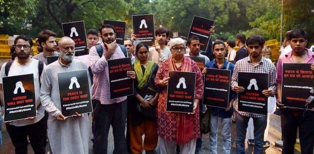 Activists protesting in Delhi against increasing cases of mob violence in India. Photo courtesy of ANHAD, co-founded by Shabnam Hashmi.