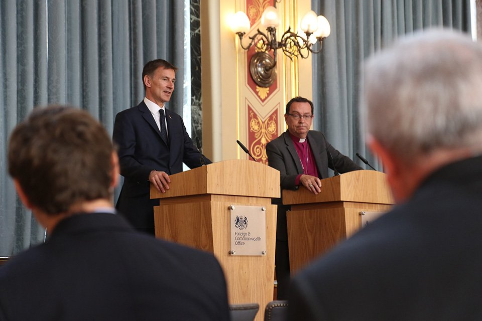 Foreign Secretary Jeremy Hunt thanked Bishop Mounstephen for his report about Foreign & Commonwealth Office support for persecuted Christians. Photo by British Foreign Office/Creative Commons.