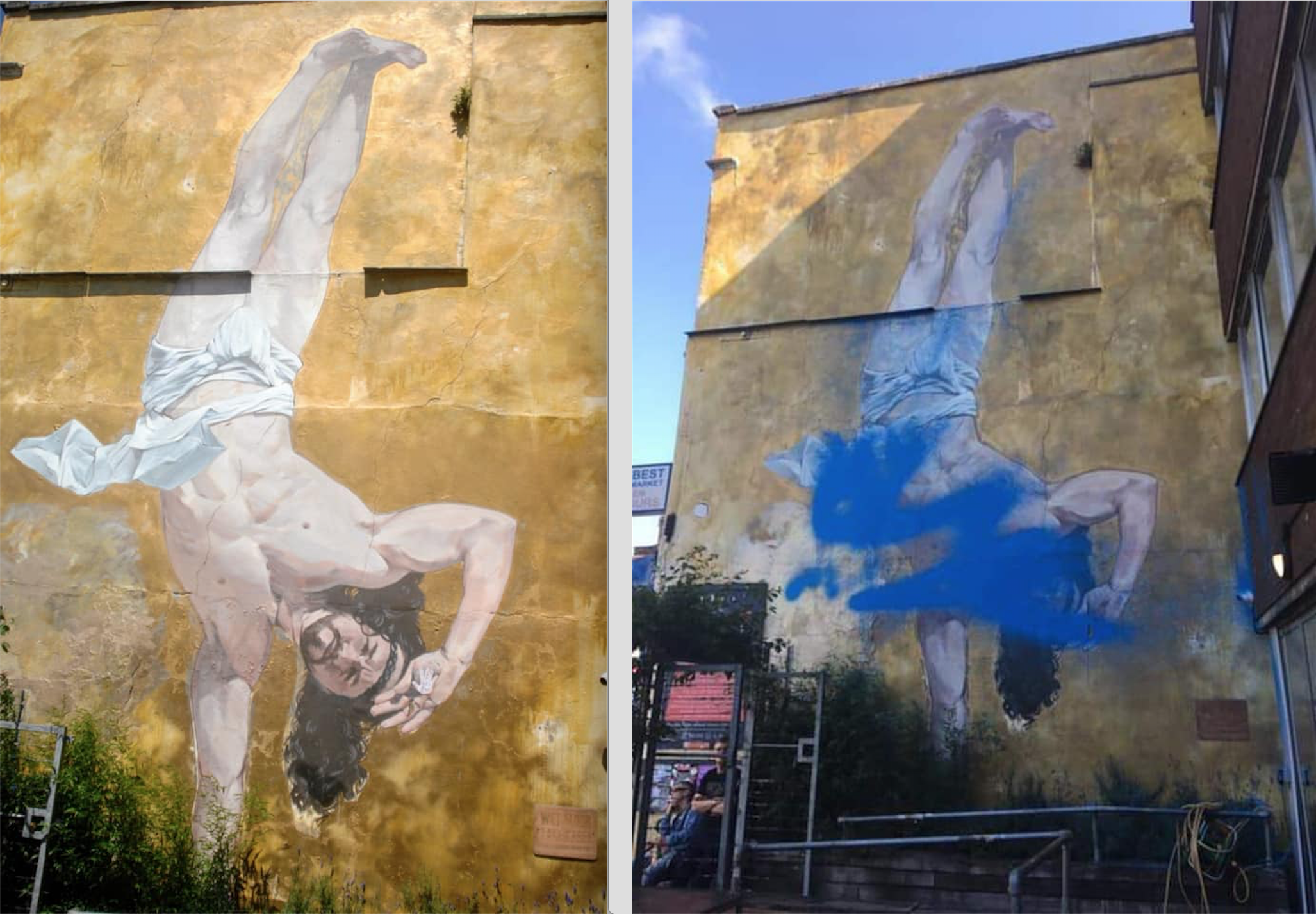 """The before and """"afterlife"""" of Breakdancing Jesus. Photos courtesy of Cosmo Sarson and Tom """"Inkie"""" Bingle."""
