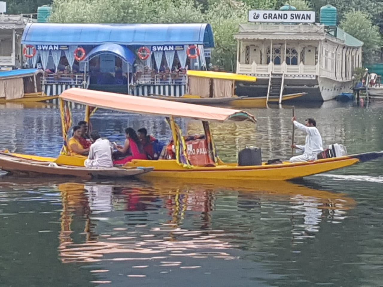 Tourists on Dal Lake, a major attraction in Srinagar, were evicted and sent home on Monday. Photo by Taha Zahoor.