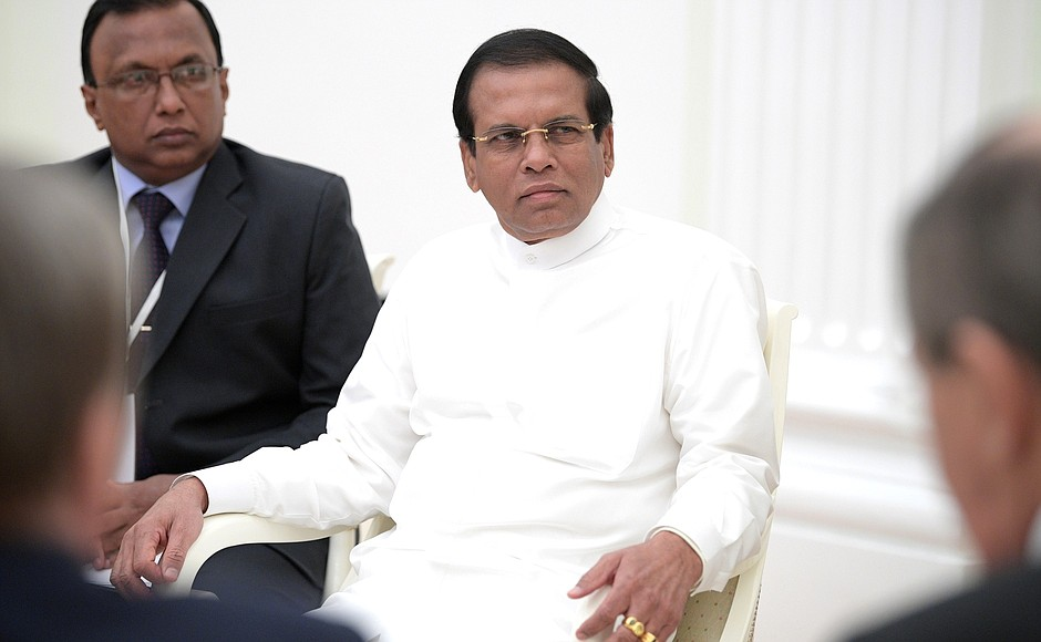 Sri Lanka's President Maithripala Sirisena during a diplomatic visit to Russia in 2017. Photo by the Kremlin.